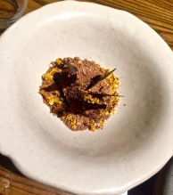 Sorbet chocolat orange brulée, honeycrumb