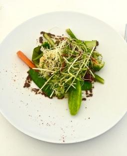 Salade de tous les légumes du moment, oeuf croustillant
