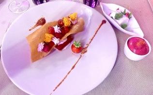 Rocaille framboises et tomates, blanc d'oeuf...herbes acides au miel de mon Apiculteur