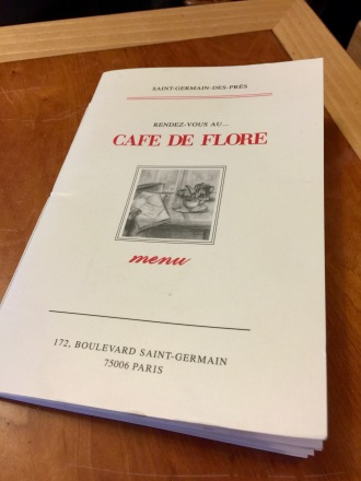 Menu - Livre du Café de Flore