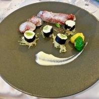 """Maki de morue façon """"panna cotta"""", couteaux et palourdes en vinaigrette, pâtisson, courge spaghetti"""