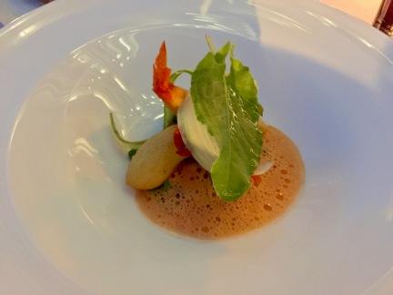 Gamberoni en tempura, citronnelle légumes croquants