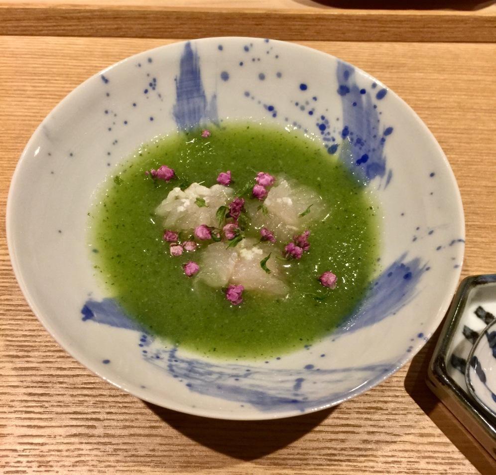 Murène ( Hamo ) grillée au bbq, soupe de légumes de saison