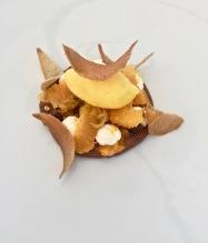 La mandarine en plusieurs états sur son crémeux de chocolat, croustillantde sarrasin et crème au whisky ©lepetitlugourmand