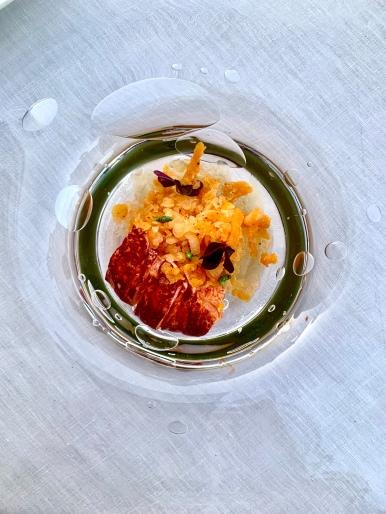 Bouillon rafraîchi de melon, citronnelle / gingembre et homard bleu ©lepetitlugourmand
