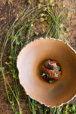 Chocolat du Pérou 70%, feuilles de pimprenelle Mirazur. Menton. France